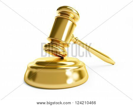 gavel law gold 3D rendering on a white background