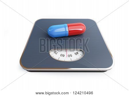 pills for weight loss floor scale 3D rendering, on a white background