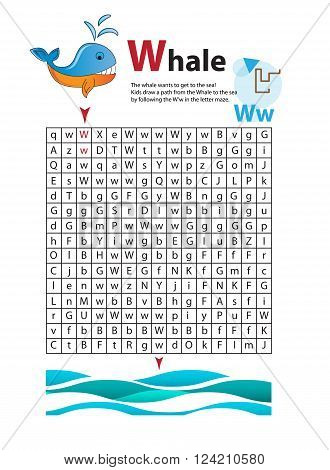 Letter Maze W. This worksheet helps kids recognize and name capital and lowercase letters. Kids also exercise thinking skills and fine motor skills as they navigate the maze. The whale and sea.