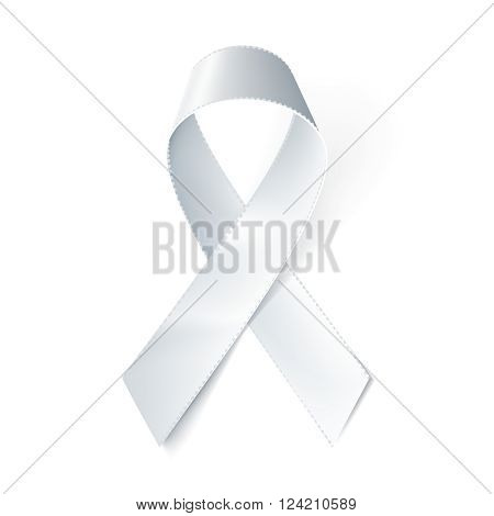 Realistic white ribbon isolated on white. Vector illustration eps10.