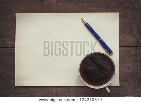 Coffee, Pen And Blank Paper