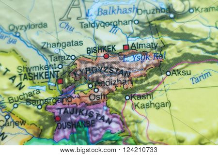 Photo of a map of Kyrgyzstan and the capital Bishkek .