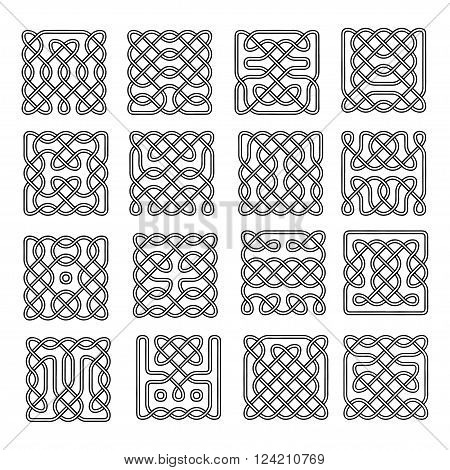 Set celtic or scandinavian element of pattern,  Vector illustration for ornate, textile, wallpaper or packaging.