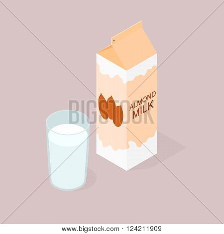 The package of almond milk. The isometry. The glass of milk. Vegan and vegetarian food. Natural product. The benefits of nuts. Milkshake in a glass. Vector illustration.