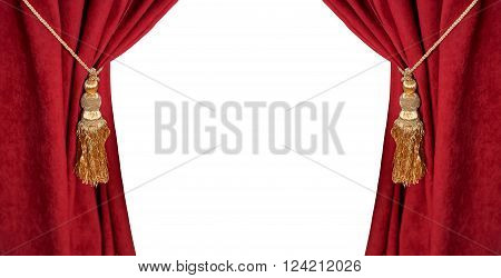 Luxury red curtain with a tassel and rope isolated on white.