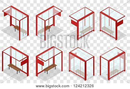 Red glass bus stop. Isometric stop. The place to wait for the bus. Wooden bench. Realistic 3D image. Transparent background. Vector illustration.