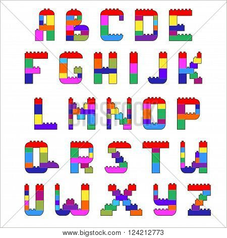 Alphabet created from lego blocks. Vector cartoon playing bricks.Children Alphabet Vector Set - More Letters in Portfolio.