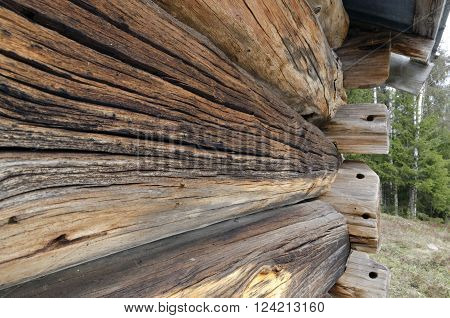 Old structured logs on a timbered house.