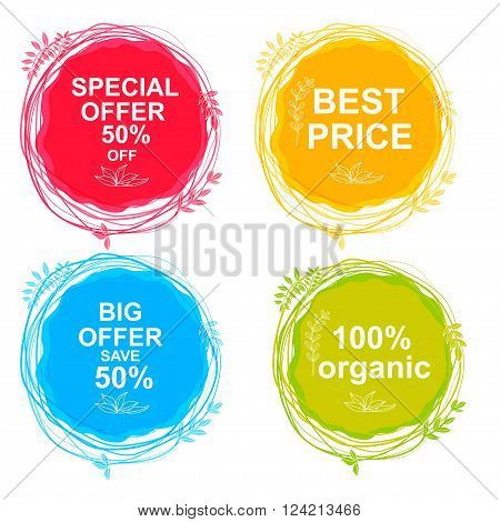 Special Offer Big Offer & Best Price Marks Organic. Vector hand drawing label for organic product. Sunny summer splash sketch elements. Natural food logo element. Sketch food and drink sticker. Farm offer.