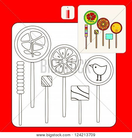 Coloring Book. Coloring book pages with cartoon vector illustration. Kids coloring pages with lollipops. Candies and sweets.