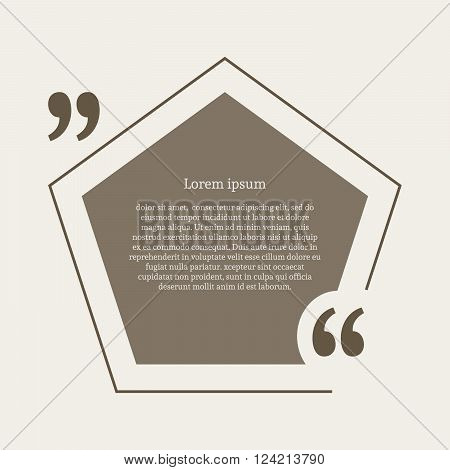 Quotation mark speech bubble. Empty quote blank citation template. Pentagon design element for business card, paper sheet, information, note, message, motivation, comment etc. Vector illustration.