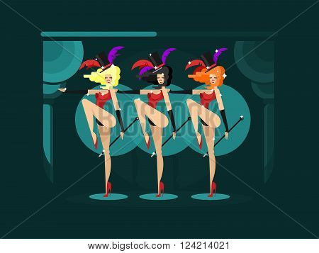 poster of Cabaret dance girls. Dancer show woman, sexy performance lady, vector illustration
