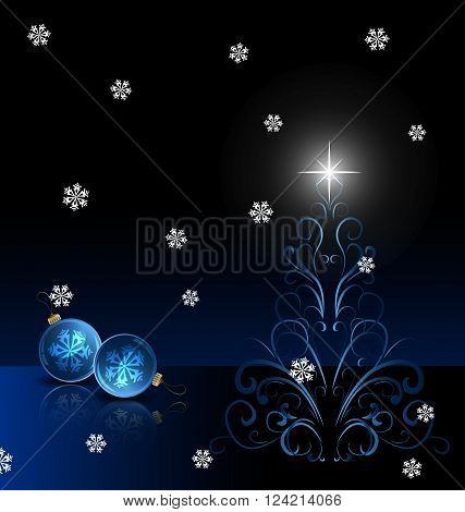 Bright Christmas background with blue evening balls and Christmas tree. Vector Illustration. EPS 10.