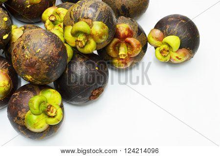 Mangosteen on white background and Thai seasonal fruit
