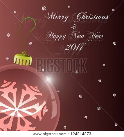 Bright Christmas background with marsala evening balls and snowflakes. Vector Illustration. EPS 10.