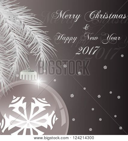 Bright Christmas background with white evening balls and Christmas tree. Vector Illustration. EPS 10.