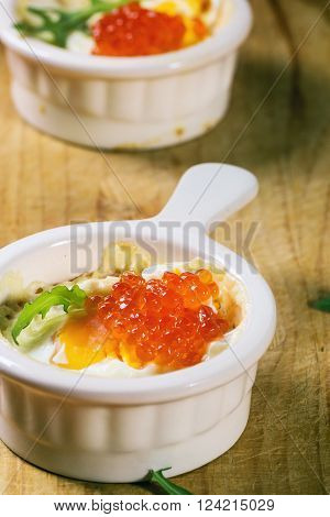 Baked Eggs With Red Caviar