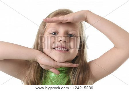 6 or 7 years old little girl with blond hair and blue eyes smiling happy posing isolated on white background showing face in language lesson for child education and body parts school words chart serie