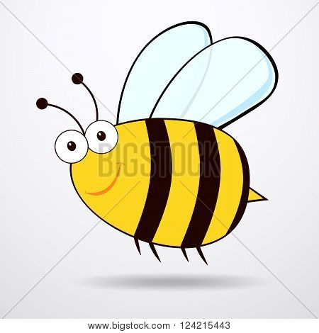 Bee on white background. Flat icon of bee - vector illustration.