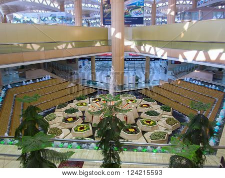 Riyadh - March 01:  Interior of the Riyadh King Khalid Airport on March 01, 2016 in Riyadh, Saudi Arabia. Riyadh airport is home port for Saudi Arabian Airlines.