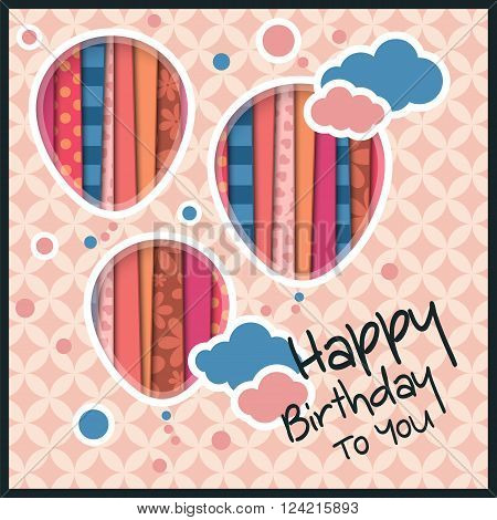 Birthday card in the style of cutouts with balloons and clouds on retro pattern background.