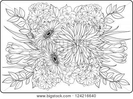 coloring page close-up view of bunch of flowers