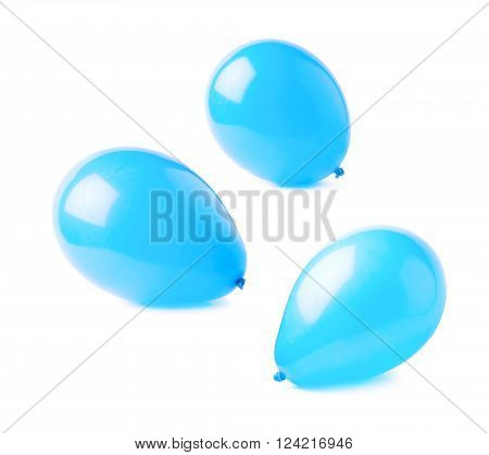 Inflated blue air balloons isolated over the white background, set collection of three different foreshortenings