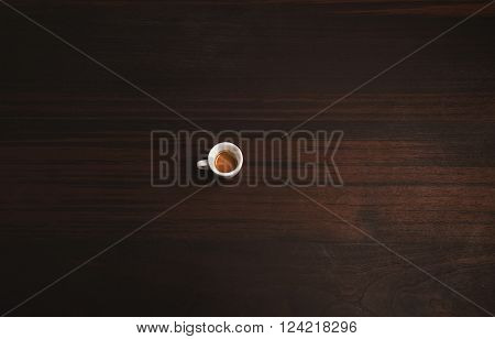 Lonely Small Ceramic Cup With Freshly Brewed Perfect Espresso Or Ristretto Artisan Coffee Isolated O