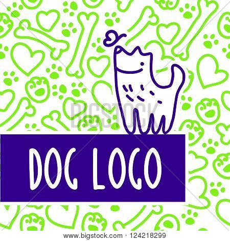 Vector flat pet. Dog, cat simple icon. Pet shop logo, animal goods store, pet food logo brand design. Pet center insignia. Kid shop logo. Seamless pattern.