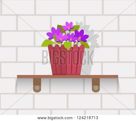 Houseplant design flat concept.  Vase with flowers on shelf against wall of brick