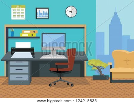 Modern office interior designer desktop in flat design. Interior  room. Office space. Vector illustration. Working place in office interior workplace. On table computer and printer near chair and sofa