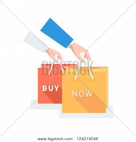 Sale badge buy now concept design. Badge buy now, sale tag, banner retail, icon label, store and shop purchase, marketing message and market commerce vector illustration. Hands holding shopping bags