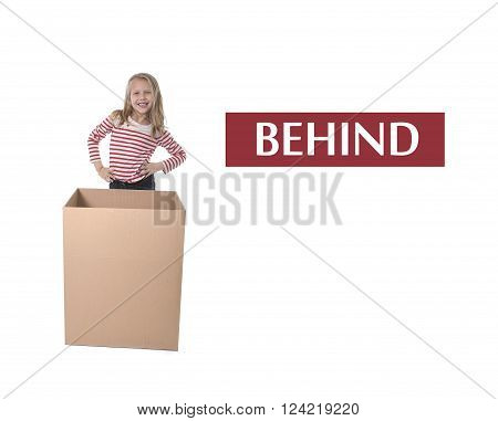 cute and sweet blond hair child standing behind cardboard box isolated on white background in learning english prepositions and words language card set for education school textbook
