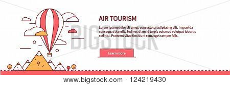 Air tourism web page design flat. Balloon travel, flight transportation, colorful air basket, vacation freedom, fly journey, adventure high, airship and nature vector illustration
