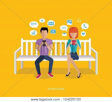 Internet addiction disorder technology. People man and woman game smartphone on bench, web addict, internet dependence, technology mobile addiction, social web addiction vector illustration