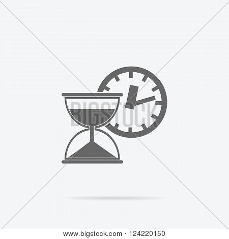 Time is money concept icon. Hourglass coins. Business currency and clock, dollar saving, watch and cash, sandwatch and monetary. Time management vector illustration. Black thin line on background