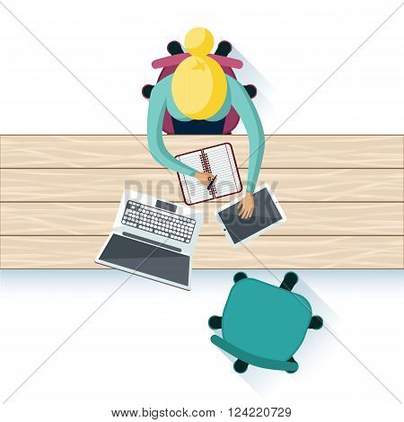 Workplace interior table top design. Workplace office, business and desk, worker and office interior, table interior, workspace notebook tablet, place for job laptop illustration. Woman work top view