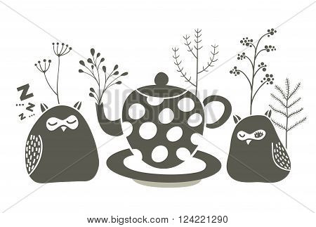 Owls ant the tea. Vector illustration of birds and tea pot.