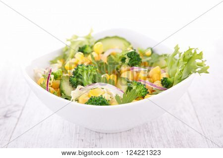 salad with corn, cucumber and broccoli