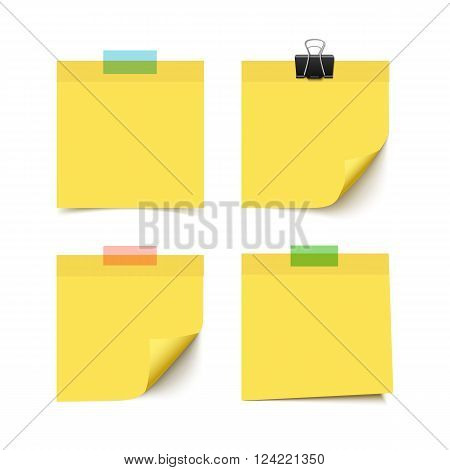 Set of four yellow sticky notes with scotch tape pieces. Realistic vector illustration of  paper notes isolated on white background. Notepaper pieces.