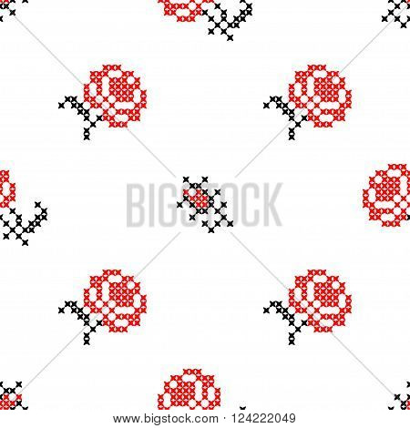 Seamless texture with red and black flowers for tablecloth. Roses. Embroidery. Cross stitch.