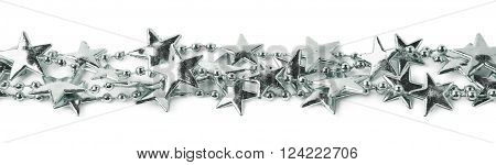Line of a silver star garland thread isolated over the white background
