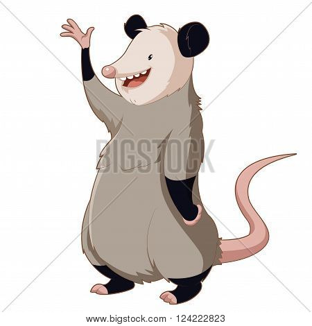 Vector image of the  Cartoon smiling Opossum