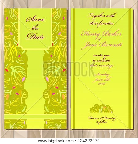 Wedding invitation spring summer green yellow card design. Printable backgrounds set. Invitation guest card. Save the date, bride and groom name and wedding plase card template. Vector illustration.
