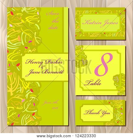 Wedding spring summer green yellow card design. Printable backgrounds set. Invitation, table number, guest and thank you card. Save the date, bride and groom card template. Vector illustration.
