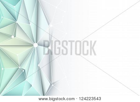 Vector futuristic technology. Abstract 3D Geometric Polygonal Triangle pattern in molecule structure shape with blue color background for technology business card, template, network and web design