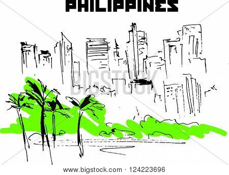 Hand drawn Philippines city scape sketch. Urban city view. Nature, architect picture. Touristic sight seeing. Print design, book, article illustration. Asia traveling. Memory postcard, invitation design.
