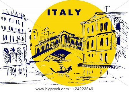 Hand drawn Italy city scape sketch. City and street view. Historic architect picture. Touristic sight seeing. Print design, book, article illustration. Europe traveling. Memory postcard, invitation design.