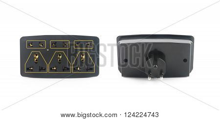 Electrical Outlet with Plug Isolated on White Background