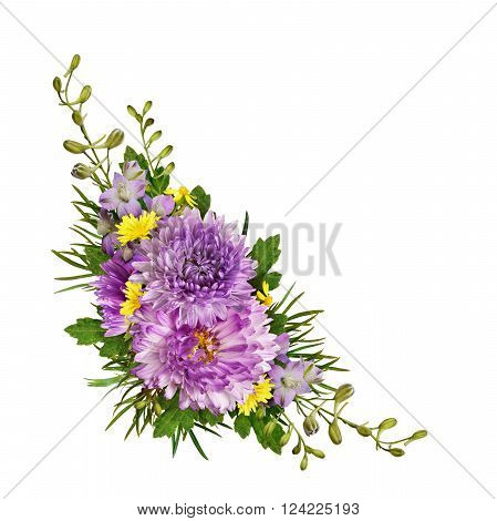 Purple and yellow flowers corner arrangement isolated on white